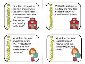 Hooray for Diffendoofer Day by Dr. Seuss Comprehension and Vocabulary Task Cards