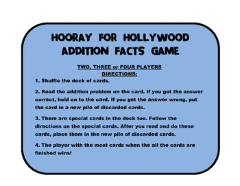 Hooray for Hollywood Addition Facts Card Game