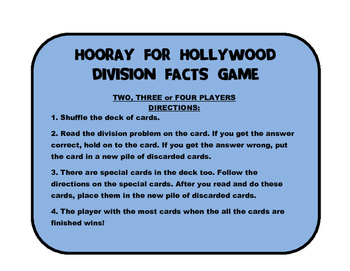 Hooray for Hollywood Division Facts Card Game