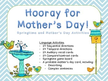 Hooray for Mother's Day!  Springtime and Mother's Day Activities