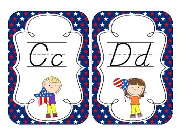 Hooray for the USA! Alphabet Cards: D'Nealian Set
