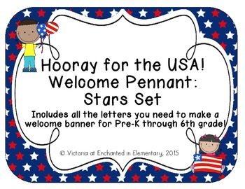 Hooray for the USA! Welcome Pennant: Stars Set