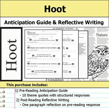 Hoot - Anticipation Guide & Reflection Writing