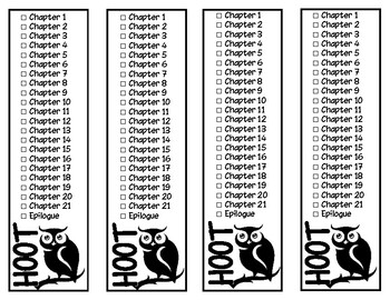 Hoot Chapter Checklist Bookmarks