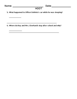 Hoot Comprehension Questions