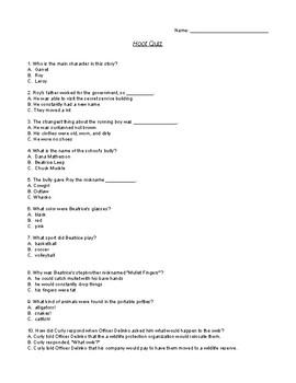 Hoot Comprehension Quiz