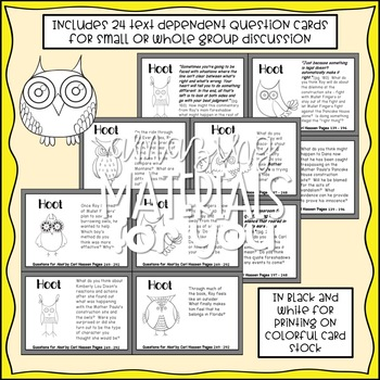 Hoot (Hiaasen) Discussion Cards in BLACK AND WHITE