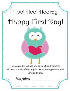 Hoot Hoot Hooray, Happy First Day!