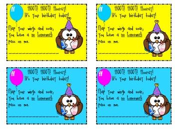 Hoot! Hoot! No Homework Birthday Pass