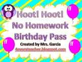 Hoot! Hoot! No Homework Birthday Pass