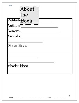 Hoot Novel Guide