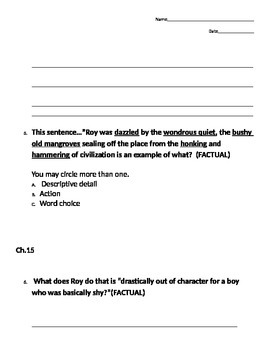 Hoot Novel Quiz Ch.13-16- Differentiated for ESE