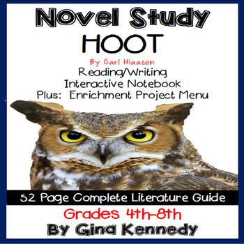 Hoot Novel Study + Enrichment Project Menu