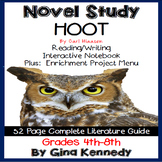 Hoot Novel Study + Enrichment Project Menu