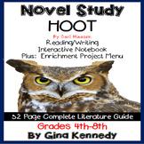 Hoot Novel Study + Enrichment Project Menu; Plus Digital Option