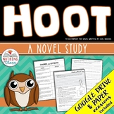 Hoot Novel Study Unit: comprehension, vocabulary, activities, tests