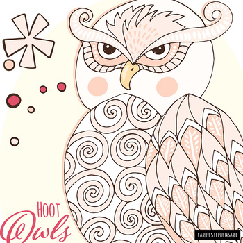 Owl ClipArt, Hoot Owl Theme Classroom Graphics, Nests & Branch, Instant download