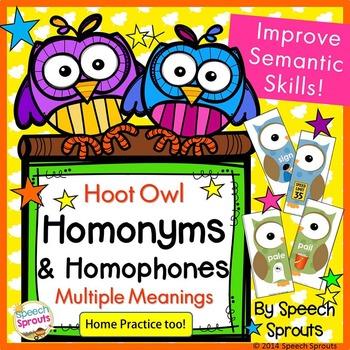 Homonyms & Homophones Hoot Owls - Multiple Meanings Fall Game
