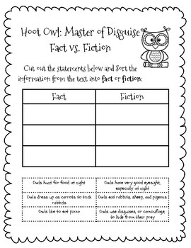 Hoot Owl: Master of Disguise Literacy Pack with sequence, fact/fiction, & simile