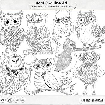 Hoot Owls Line Art Illustrations, Hand Drawn Zen Design, Owl ClipArt, Clip Art