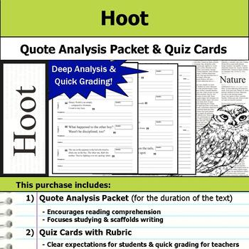 Hoot - Quote Analysis & Reading Quizzes