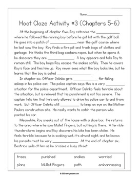 Hoot by Carl Hiaasen:  11 Cloze Activities