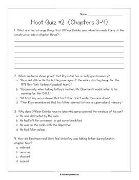Hoot by Carl Hiaasen:  11 Quizzes