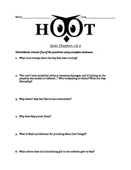 Hoot by Carl Hiaasen - Chapters 1 & 2 Quiz