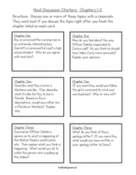 Hoot by Carl Hiaasen:  Discussion Task Cards