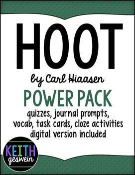 Hoot Power Pack:  Quizzes, Prompts, Vocab, Task Cards, Cloze Activities