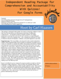 Hoot by Carl Hiaasen for Google Forms Independent Reading