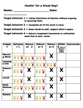 Hootin For A Great Day Behavior Chart