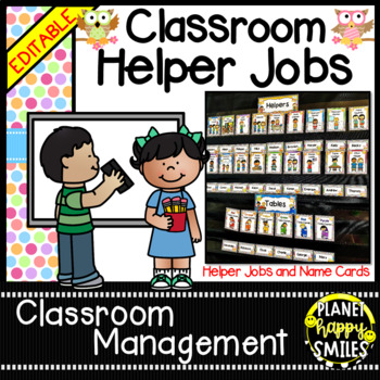 Classroom Helper Jobs (EDITABLE) ~ Hootin' Owl Theme (polk