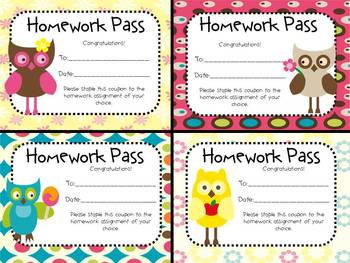 Hooting for No Homework! (Owl Theme Homework Passes)