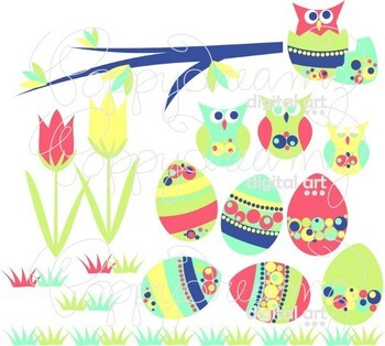 Hooty Easter Clipart and Digital Paper Set by Poppydreamz