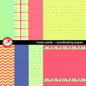Hooty Easter Coordinating Digital Paper by Poppydreamz