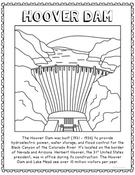 Hoover Dam Informational Text Coloring Page Craft or Poster, Geography
