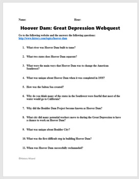 Hoover Dam and the Great Depression Webquest