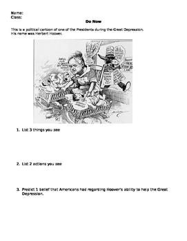 Hoover Political Cartoon Do Now