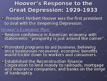 Hoover's Response to the Great Depression Lesson