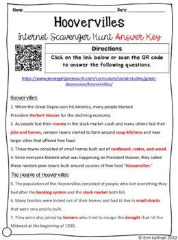 Hoovervilles Internet Scavenger Hunt WebQuest Activity