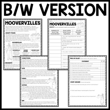 Hoovervilles Reading Comprehension Worksheet, Great Depression, FDR