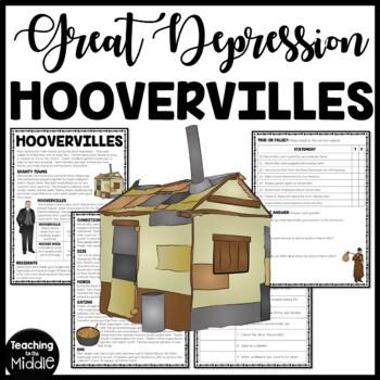 Hoovervilles Great Depression Reading Comprehension Worksheet