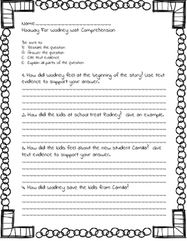 Hooway For Wodney  Wat Common Core Skills Reading Writing Extended Response