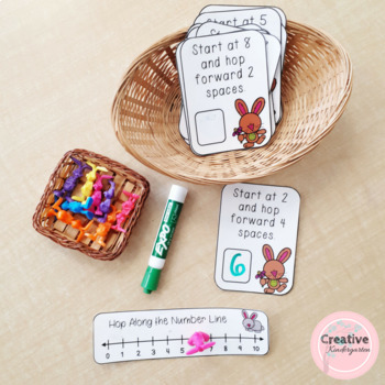 Hop Along the Number Line! Kindergarten Addition and Subtraction Task Cards