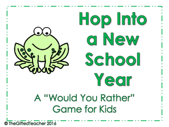"Hop Into a New Year, Frog Themed ""Would You Rather"" Game"