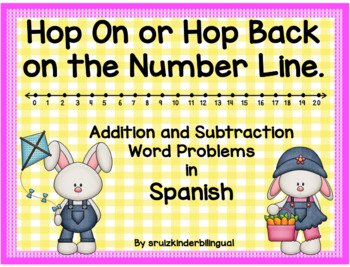 Hop ON or Hop Back on the Number Line~ Word Problems in Spanish~