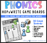 Hop and Write Phonics Game Boards Literacy Center from Phonics Bundle 8