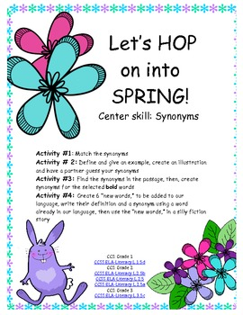 Hop into Spring! SYNONYM center, Common Core aligned- Gr 1,2,3