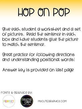 Hop on Pop Positional Words Activity